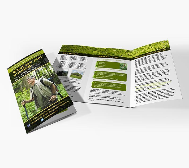 volta creative sheffield ramblers folded leaflet