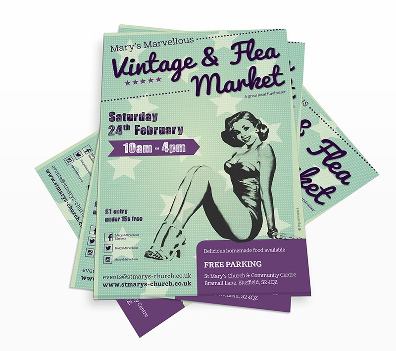 St Mary's Vintage and Flea Market Poster - Volta Creative